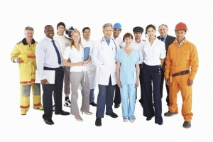 Group of people from their respective professions on white